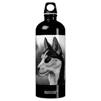 Siberian Husky Dog Portrait Digital Art Water Bottle