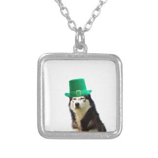 Siberian Husky Dog St. Patrick's day Silver Plated Necklace