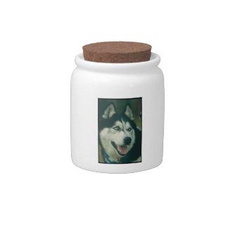 Siberian Husky Dog Treat Candy Jar