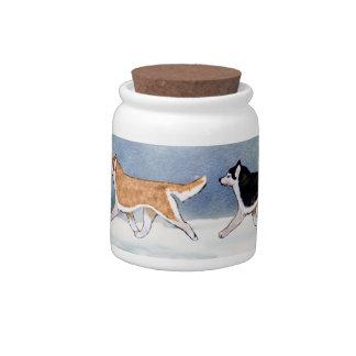 Siberian Husky Dog Treat Jar Candy Dishes