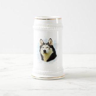 Siberian Husky Dog Water Color Art Beer Stein