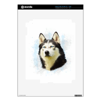 Siberian Husky Dog Water Color Art Painting Decals For iPad 2