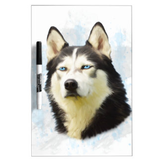 Siberian Husky Dog Water Color Art Painting Dry-Erase Board