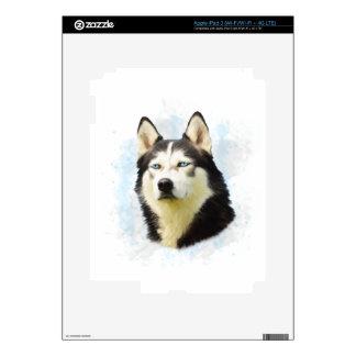 Siberian Husky Dog Water Color Art Painting iPad 3 Skins