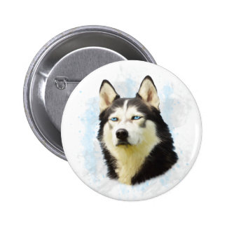 Siberian Husky Dog Water Color Art Painting Pinback Button