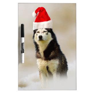 Siberian Husky Dog with Santa Hat in Snow Dry-Erase Board