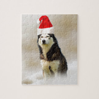 Siberian Husky Dog with Santa Hat in Snow Puzzle