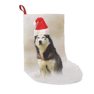 Siberian Husky Dog with Santa Hat in Snow Small Christmas Stocking
