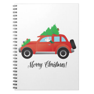 Siberian Husky Driving Christmas Car Notebook