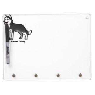 Siberian Husky Dry Erase Board With Keychain Holder