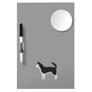 Siberian Husky Dry Erase Board With Mirror