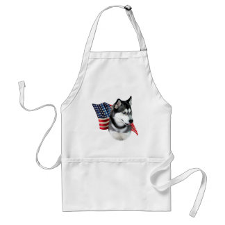 Siberian Husky Flag Adult Apron