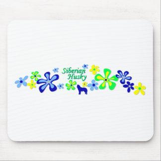 Siberian Husky Flowers Mouse Pad