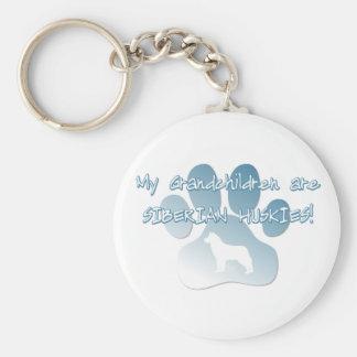 Siberian Husky Grandchildren Basic Round Button Keychain