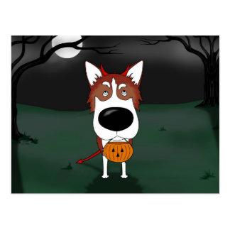 Siberian Husky Halloween Postcard