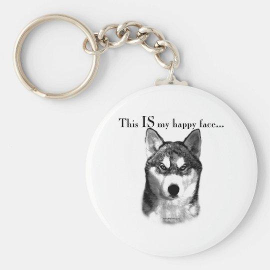 Siberian Husky Happy Face Keychain