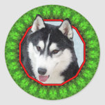 Siberian Husky Happy Howliday Classic Round Sticker