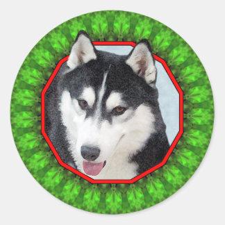 Siberian Husky Happy Howliday Round Stickers