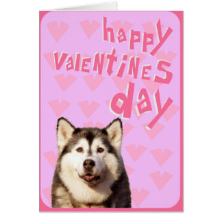 Siberian Husky Happy Valentine's Day Greeting Card