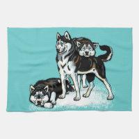 siberian husky kitchen towel
