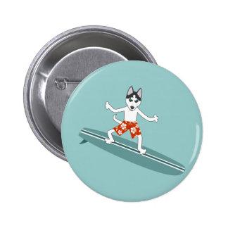 Siberian Husky Longboard Surfer Button