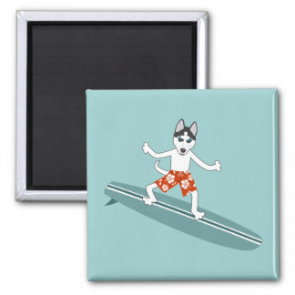 Siberian Husky Longboard Surfer Refrigerator Magnets