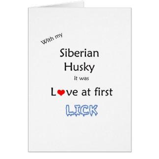 Siberian Husky Love at First Lick Card