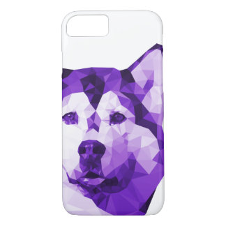 Siberian Husky Low Poly Art in Purple iPhone 7 Case