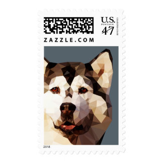 Siberian Husky Low Poly Art Postage
