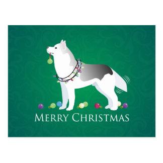 Siberian Husky Merry Christmas Design Postcard