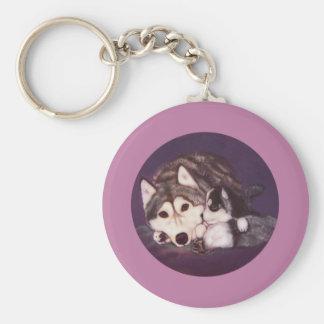 Siberian Husky Mom and Pup Key Chain