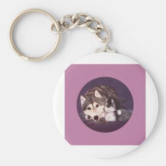 Siberian Husky Mom and Pup Key Chains