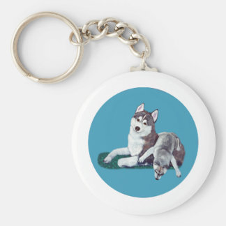 Siberian Husky Mom and Puppy Keychain