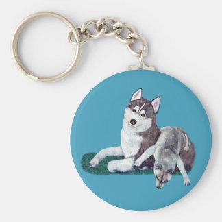 Siberian Husky Mom and Puppy Key Chain