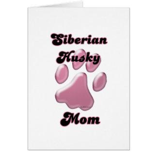 Siberian Husky Mom Pink Pawprint  Card