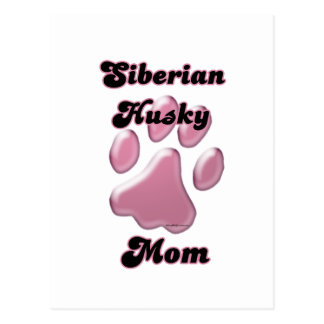Siberian Husky Mom Pink Pawprint  Postcard