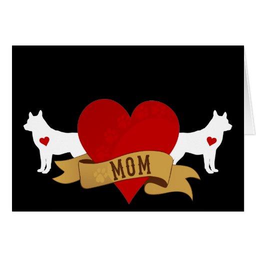 Siberian Husky Mom Tattoo Style Card