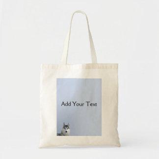 Siberian Husky on Blue Background Budget Tote Bag