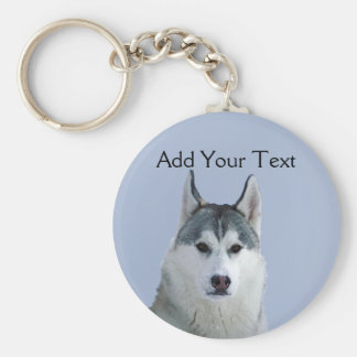Siberian Husky on Blue Background Keychain