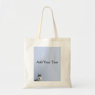 Siberian Husky on Blue Background Tote Bag