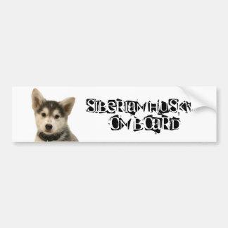 Siberian Husky on Board Bumper Sticker