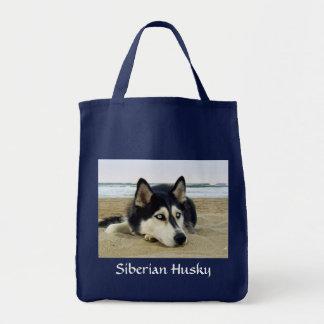 Siberian Husky on the Beach Grocery Tote Bag