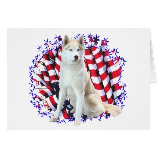 Siberian Husky Patriot Greeting Card
