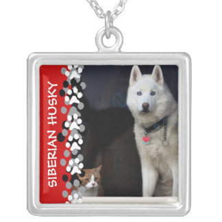 Siberian Husky Photo Silver Plated Necklace
