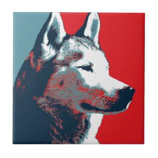 Siberian Husky Political Parody Poster Ceramic Tile