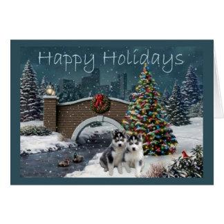 Siberian Husky Puppies Christmas Evening Card