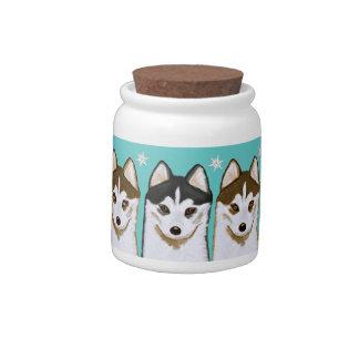 Siberian Husky Puppies Dog Treat Cookie Jar Candy Dish