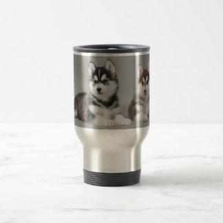 Siberian husky puppies travel mug