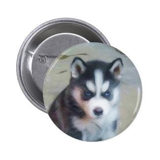 Siberian Husky puppy art Button