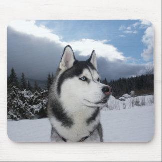 Siberian Husky Puppy Dog Winter  Snow Mouse Pad